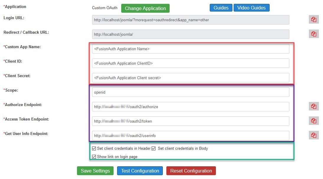 Paramètres de configuration Joomla OAuth personnalisés.