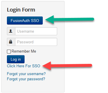 Options de connexion Joomla SSO.