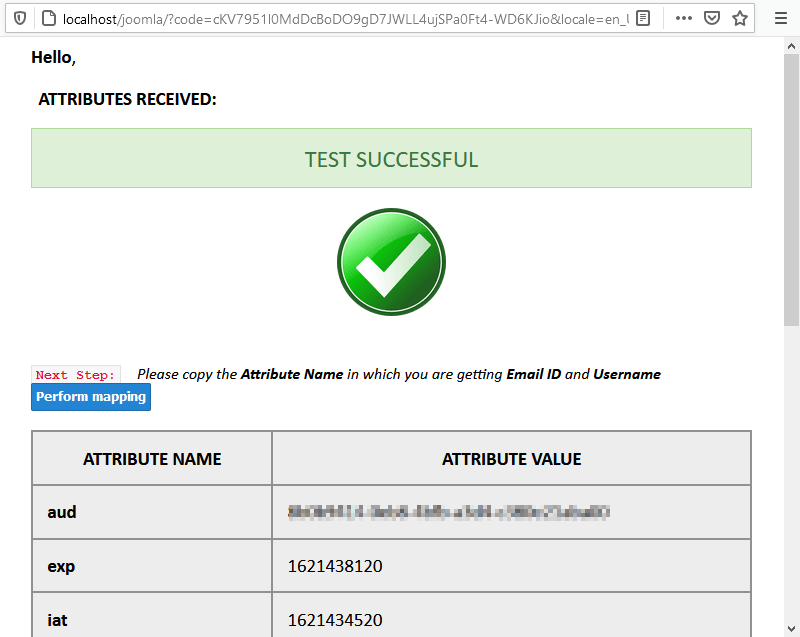 Écran de résultat du test Joomla OAuth.