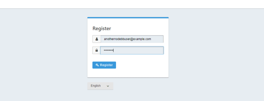 The registration screen when self registration has been enabled.