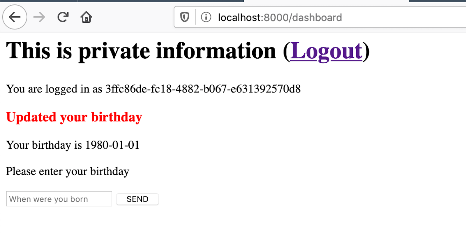 The private dashboard with the user's birthday.