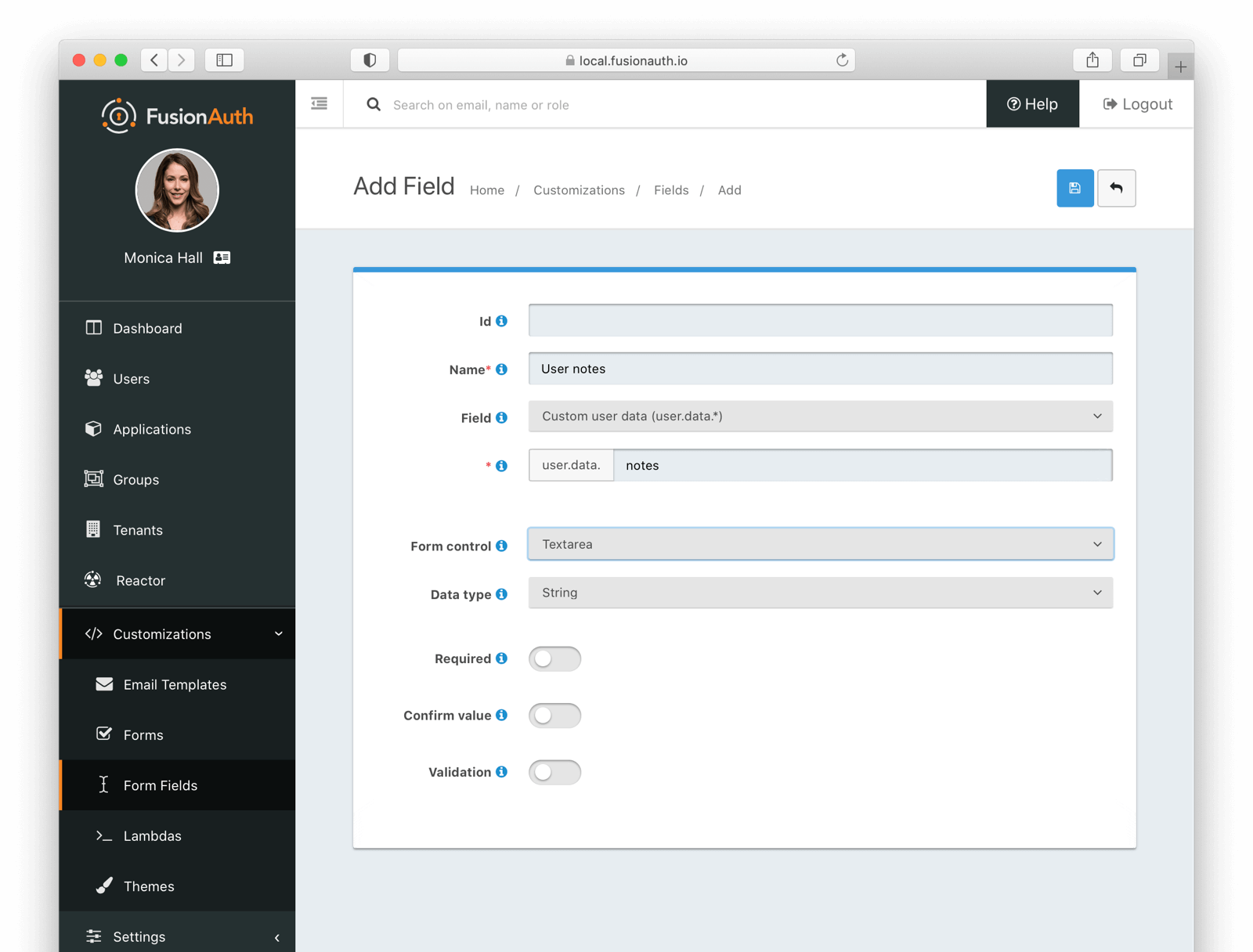 Adding a custom form field.