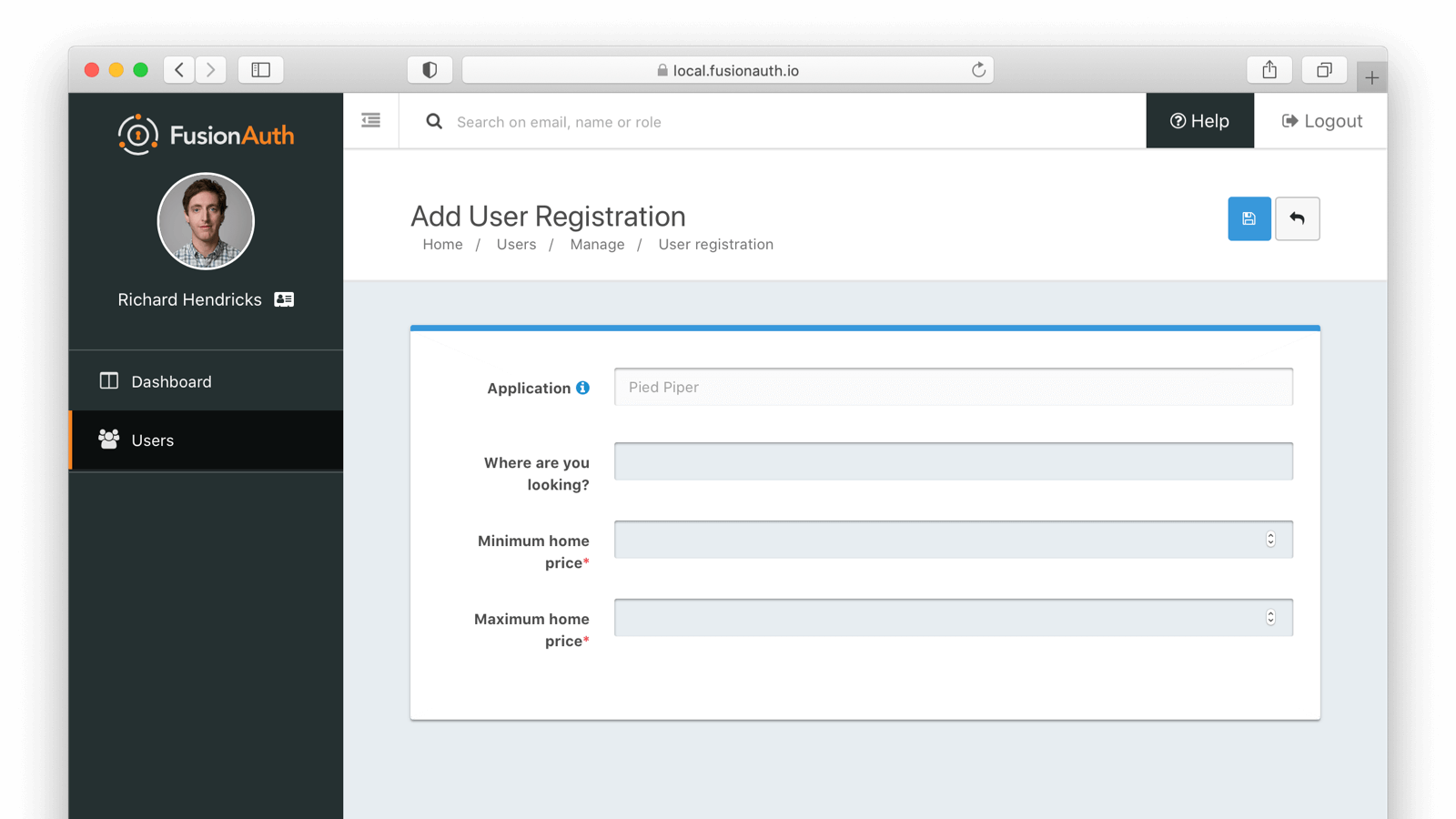 Editing a user application registration with a custom form.